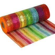 Metallic Rainbow Deco Mesh Fabric Roll