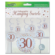 Rose Gold Sparkling Fizz 30th Birthday Hanging Swirls 6pk