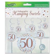 Rose Gold Sparkling Fizz 50th Birthday Hanging Swirls 6pk