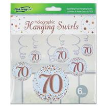 Rose Gold Sparkling Fizz 70th Birthday Hanging Swirls 6pk