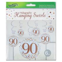 Rose Gold Sparkling Fizz 90th Birthday Hanging Swirls 6pk