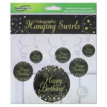 Black & Gold Sparkling Fizz Happy Birthday Hanging Swirls 6pk