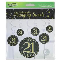 Black & Gold Sparkling Fizz 21st Birthday Hanging Swirls 6pk