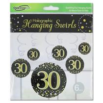 Black & Gold Sparkling Fizz 30th Birthday Hanging Swirls 6pk