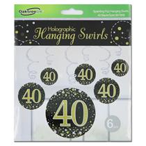 Black & Gold Sparkling Fizz 40th Birthday Hanging Swirls 6pk