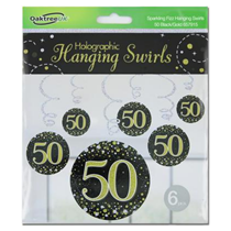 Black & Gold Sparkling Fizz 50th Birthday Hanging Swirls 6pk