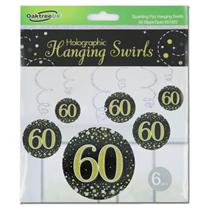 Black & Gold Sparkling Fizz 60th Birthday Hanging Swirls 6pk