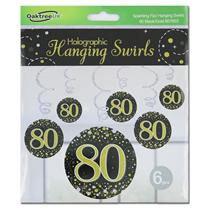 Black & Gold Sparkling Fizz 80th Birthday Hanging Swirls 6pk