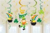 St Patrick's Day Swirl Decorations 12pk