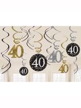Gold Celebration 40th Birthday Hanging Swirl Decorations 12pk