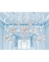 Snowflake Hanging Swirl Decorations 30pk