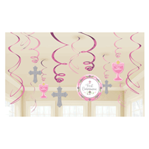 First Communion Pink Swirl Hanging Party Decorations 12pce