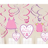 With Love - Baby Girl Swirl Decorations
