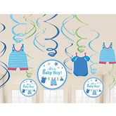 With Love - Baby Boy Swirl Decorations