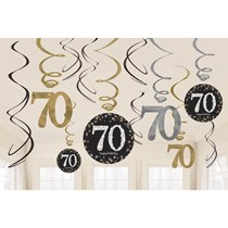 Gold Celebration 70th Birthday Hanging Swirl Decorations 12pk
