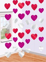 Valentine's Love Heart Hanging Decoration 6pk - Red & Pink