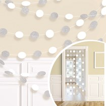 White Glitter Dots Hanging String Decorations 6pk