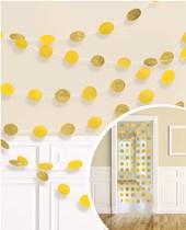 Yellow Glitter Dots Hanging String Decorations 6pk