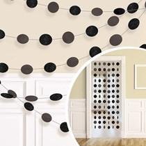 Black Glitter Dots Hanging String Decorations 6pk
