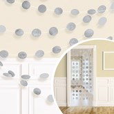 Silver Glitter String Door Hanging Decoration 2.13m