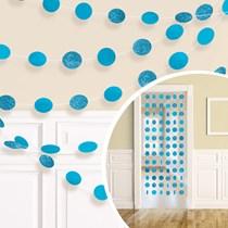 Caribbean Blue Glitter Dots Hanging String Decorations 6pk