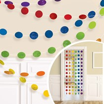 Rainbow Glitter Dots Hanging String Decorations 6pk