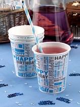 Blue Happy Birthday Paper Cups 8pk