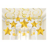 Sunshine Yellow Hanging Star Swirl Decorations 30 Pieces