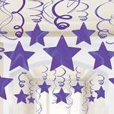 Purple Hanging Star Swirl Decorations 30 Pieces