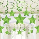Kiwi Green Hanging Star Swirl Decorations 30 Pieces