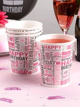 Pink Happy Birthday Paper Cups 8pk