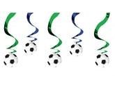 Football Hanging Swirl Decorations 5pk