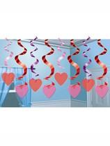 Valentine's Love Heart Hanging Swirl Decorations 15pk