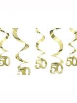 50th Gold Anniversary Hanging Swirl Decorations