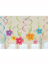Luau Party Hanging Swirl Decorations 12pk
