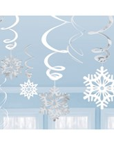 Snowflake Hanging Swirl Decorations 12pk