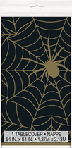 Halloween Black & Gold Spiderweb Plastic Tablecover