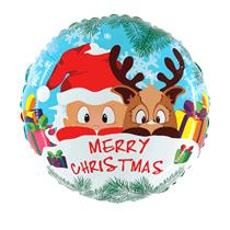 "Merry Christmas Santa & Reindeer 21"" Foil Balloon"