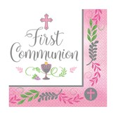 First Communion Pink Lunch Napkins 36pk
