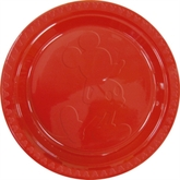 """6 Red Mickey Mouse Silhouette Embossed 9"""" Plastic Plates"""