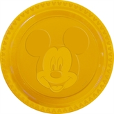 """6 Yellow Mickey Mouse Embossed 9"""" Plastic Plates"""