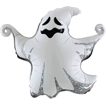"""Halloween Holographic Scary 17"""" Ghost Foil Balloon"""