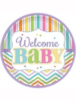 Baby Brights Welcome Baby Paper Plates 18pk