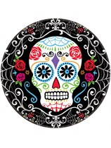 Halloween Day of the Dead Paper Plates 18pk