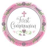 First Communion Pink 23cm Paper Plates 18pk