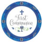 First Communion Blue 23cm Paper Plates 18pk