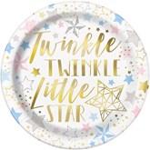"Twinkle Little Star Foil Printed 9"" Plates 8pk"