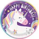 "Unicorn Party Happy Birthday 9"" Paper Plates 8pk"