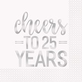 Cheers To 25 Years Foil Lunch Napkins 16pk