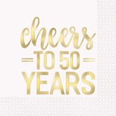 Cheers To 50 Years Foil Lunch Napkins 16pk
